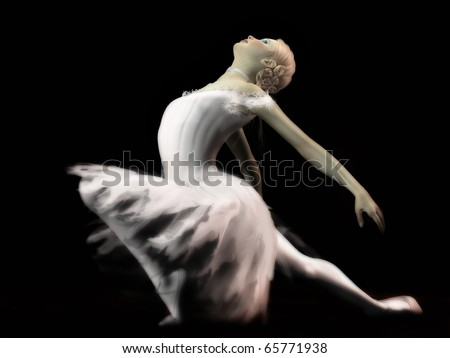 A digital render of a ballerina in a white feathery tutu posing on a darkened stage.