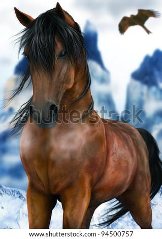 A digital render of a bay horse standing in the snow on a cold day with mountains and a hawk in the background.