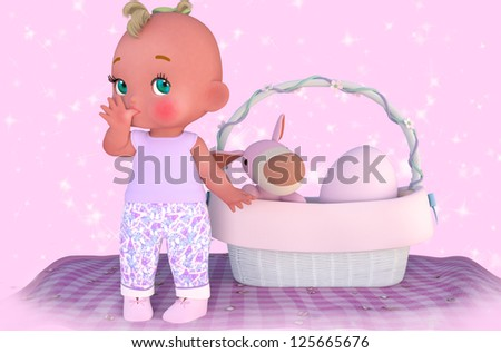 A digital render of a cute cartoon style baby girl sucking her thumb.  She is standing on a blanket next to a basket with a toy dog and a pink egg.