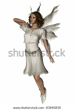 A digital render of a cute fairy dressed all in white.  She is flying and has flower tiara and anklet.