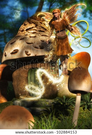 A digital render of a cute fairy dressed in gold flying away from a mushroom house with a trail of glitter and sparkles behind her. Glitter brushes from www.obsidiandawn.com