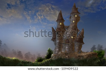 A digital render of a fantasy castle in the early evening light.