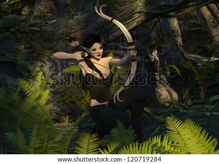 A digital render of a female eleven archer ranger in the woods in a crouching position aiming her bow and arrow at an unseen opponent.