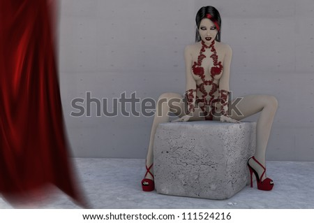 A digital render of a female vampire weraing red lingerie and high heeled shoes in a provocative pose.