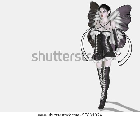 A digital render of a gothic style fairy with gray and white wings and clothes.