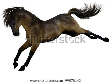 A digital render of a horse, grulla coat, bucking, isolated on white background.