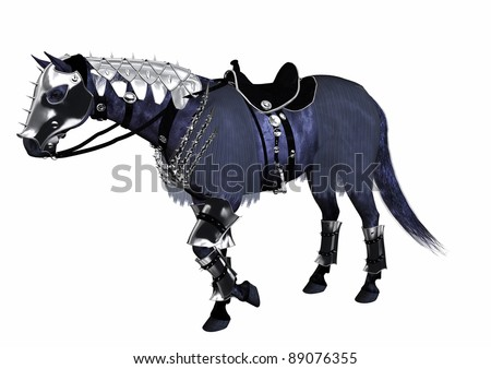 A digital render of a horse wearing armor.  Suitable for a medieval knight.