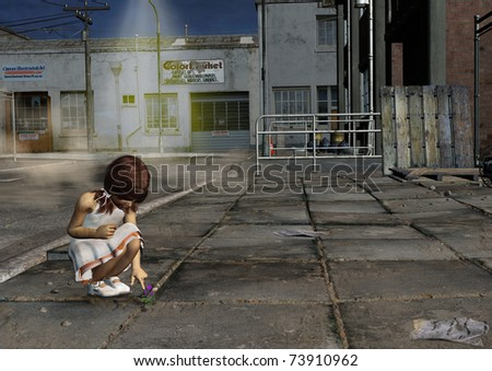 A digital render of a little girl with brown hair looking at a flower.  The surroundings are dirty and dark.