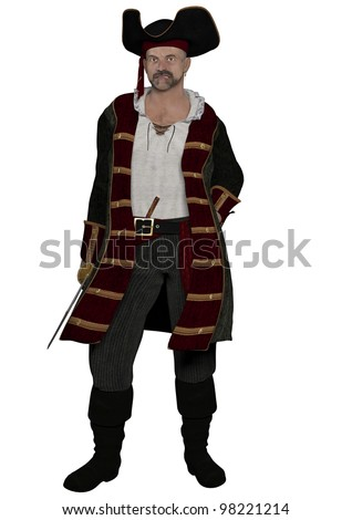 A digital render of a male pirate captain who is not looking too happy.