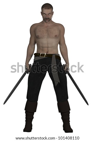 A digital render of a male pirate holding swords in a guarding position.