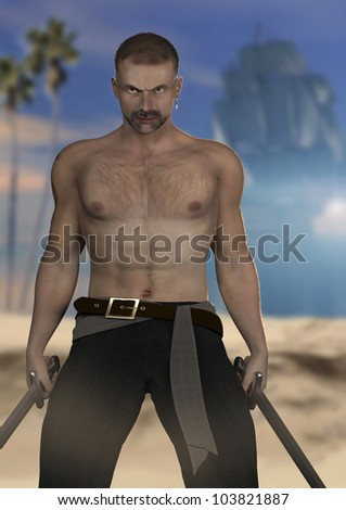 A digital render of a male pirate holding swords in a guarding position. Beach, ocean, ship and palm trees are in the distance behind him.
