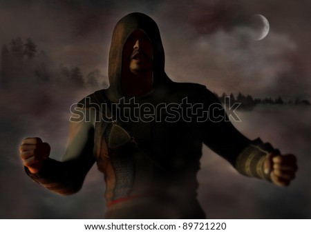 A digital render of a male warrior angry in deep shadow at night time.