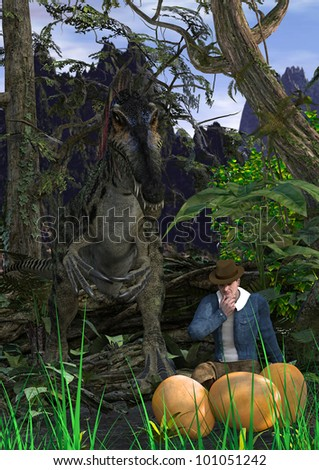 A digital render of a man discovering rare dinosaur eggs without knowing that the mother dino is standing right behind him.