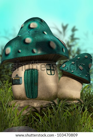 A digital render of a mushroom house in the grass with dappled sunlight.  Ready for fairies or sprites!