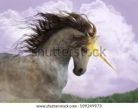 A digital render of a unicorn with magic golden light coming from his horn.  He is running in a field with lavender sky.