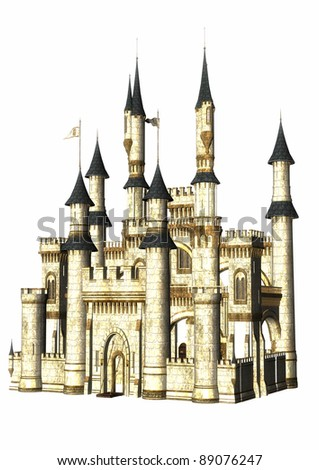A digital render of a white fantasy castle isolated on a white background. - stock photo