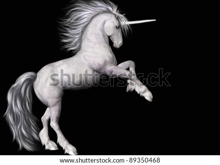 A digital render of a white unicorn rearing.  Black background.