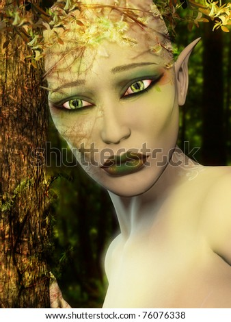 A digital render of an elf who is very sad and has a reflection of industrial buildings in her eyes.  Is she healing nature or is the industry killing her? It's up to you.