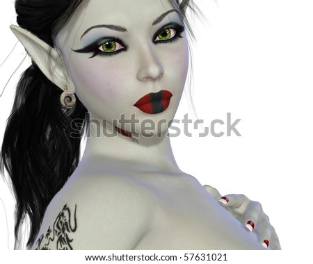 A digital render of an elven female with dark hair and gothic make up. White background.