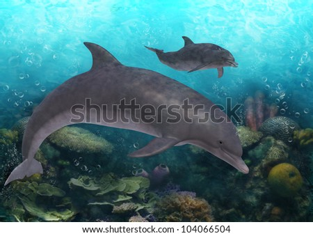 A digital render of dolphins in the ocean swimming above corals in clear blue water.