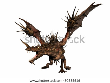 A digital render of  dragon running with mouth open and angry expression.  White background.  The dragon has a lot of spiky horns.