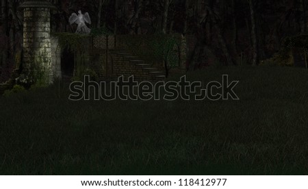A digital render of old ruins in a grassy field at night.