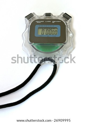 A digital stopwatch isolated on white background.