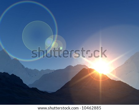 A digitally created view of a mountain landscape. With a sun either rising or setting.
