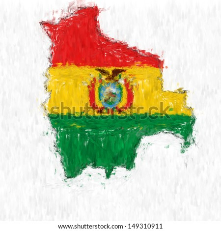 A digitally enhanced image of the flag of Bolivia made to look like the countries map shape and done in the style of an impressionist painting.