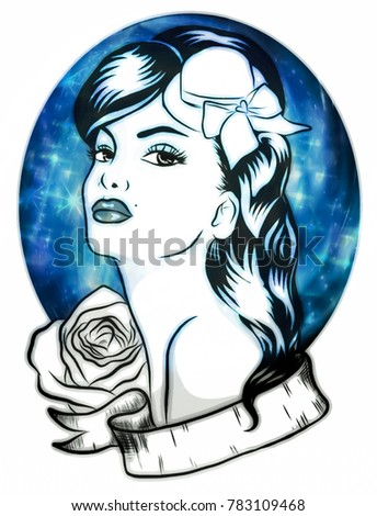 A digitally illustrated banner-wrapped pin up girl & rose tattoo design.