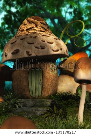 A digitally rendered illustration of a mushroom house in a peaceful wooded landscape. - stock photo