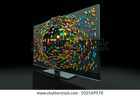 A 3 Dimensional Tv Television Concept Of A Flat Screen Lcd Or Led ...