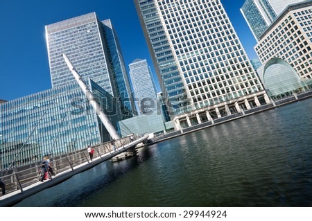 A dinamic angle picture of Skyscrapers of Canary Wharf.