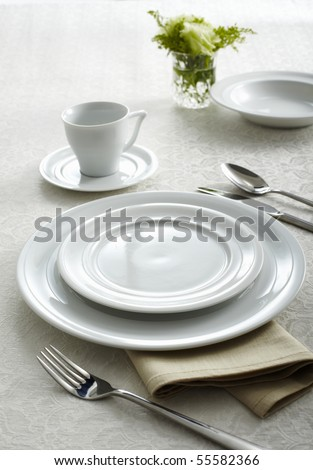 A dinner plate, knife and fork