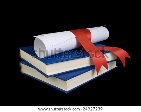 A diploma with a red ribbon over two blue books.