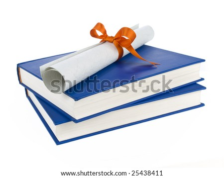 A diploma with orange ribbon over blue books. Isolated on white.