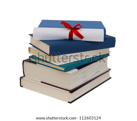 A diploma with red ribbon over blue books. Isolated on white.