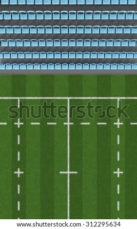 A direct top view of a section of a rugby stadium with a marked grass field in the daytime