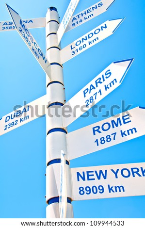 A direction sign giving distance indicators to various world cities.  white on blue.