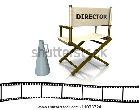 A director chair with a megaphone beside it and a film strip at the bottom.