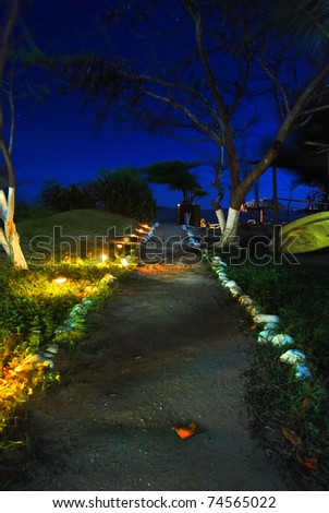 A dirt path leading to the beach at night.
