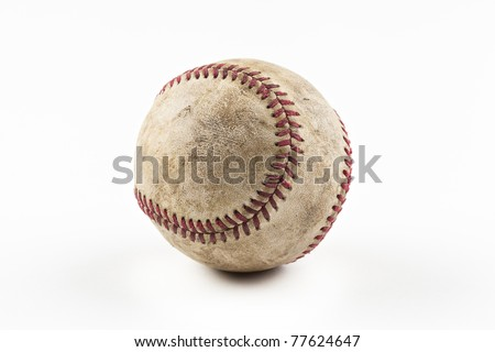A dirty baseball against a white background