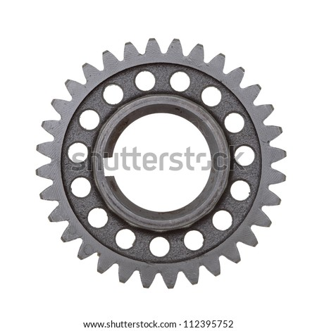 A dirty industrial gear isolated on a white background