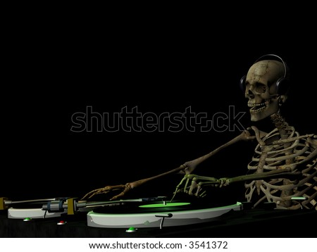 A dirty skeleton is in the House and mixing up some Halloween horror.  Turntables with vinyl albums.