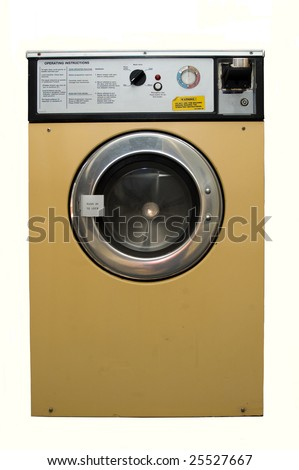 a dirty well used coin operated launderette washing machine.