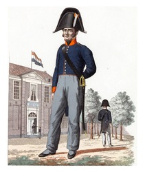A disabled Dutch soldier standing in front of a home, vintage engraving.