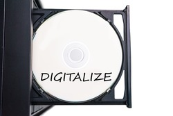 A disc with a word digitalize ready to be read by CPU.