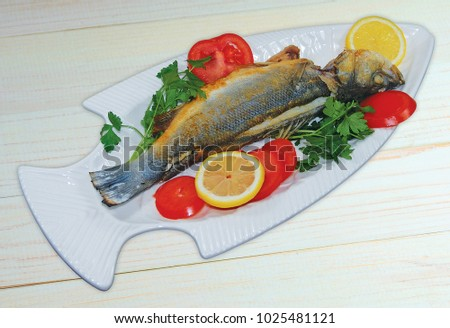 A dish of a delicious fish Stok fotoğraf ©
