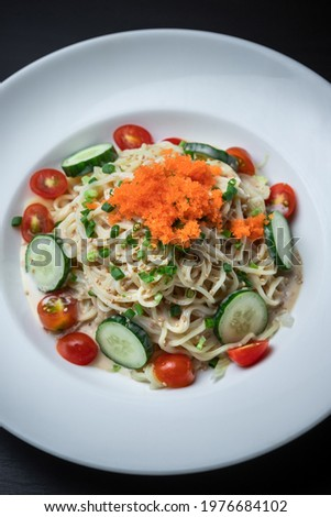 A Dish of Cold Soba Noodle Salad with Sesame Sauce ストックフォト ©
