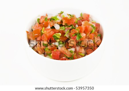 A dish of pico de gallo, isolated on white